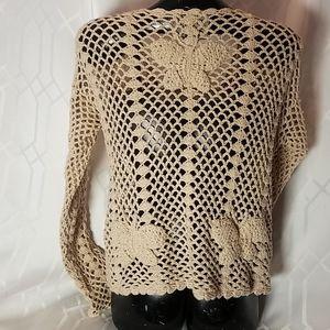 Pure Handknit Sweaters - Pure Handknit tan butterfly sweater womens M/L